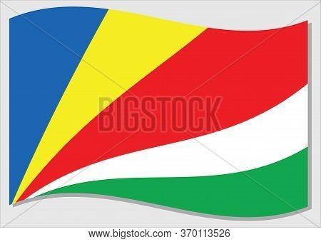 Waving Flag Of Seychelles Vector Graphic. Waving Seychellois Flag Illustration. Seychelles Country F