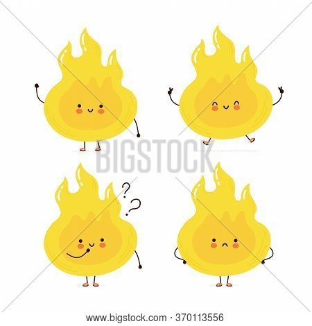 Cute Happy Fire Flame Character Set Collection. Isolated On White Background. Vector Cartoon Charact