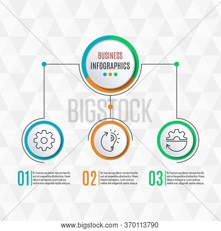 3 Steps Infographics For Business Presentation. Circle Infographic Template With 3 Options, Levels,