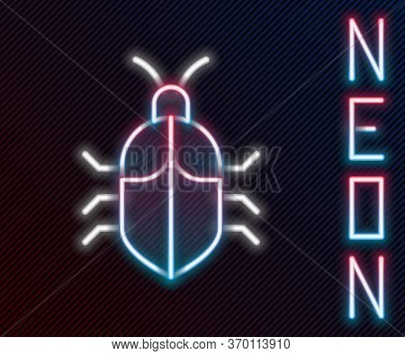 Glowing Neon Line System Bug Concept Icon Isolated On Black Background. Code Bug Concept. Bug In The
