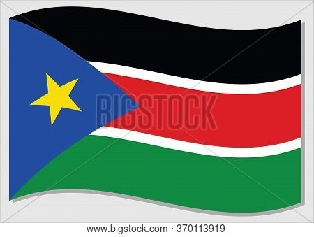 Waving Flag Of South Sudan Vector Graphic. Waving South Sudanese Flag Illustration. South Sudan Coun