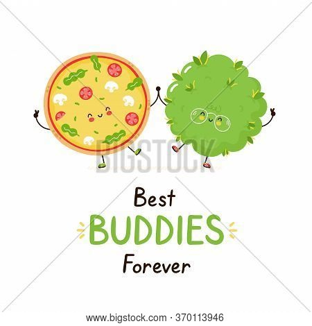 Cute Happy Smiling Pizza And Weed Bud Friends. Isolated On White Background. Vector Cartoon Characte