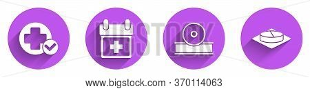 Set Cross Hospital Medical, Doctor Appointment, Otolaryngological Head Reflector And Medicine Pill O