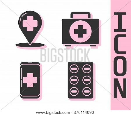 Set Pills In Blister Pack, Map Pointer With Cross Hospital, Emergency Mobile Phone Call To Hospital