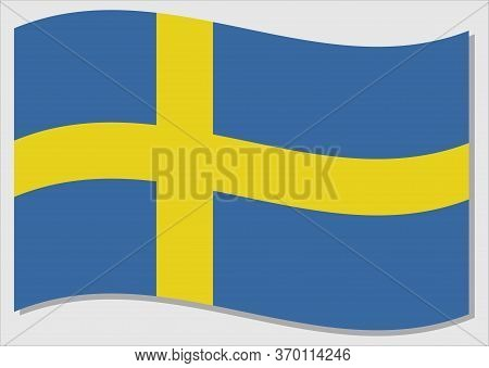 Waving Flag Of Sweden Vector Graphic. Waving Swedish Flag Illustration. Sweden Country Flag Wavin In