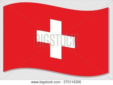Waving Flag Of Switzerland Vector Graphic. Waving Swiss Flag Illustration. Switzerland Country Flag