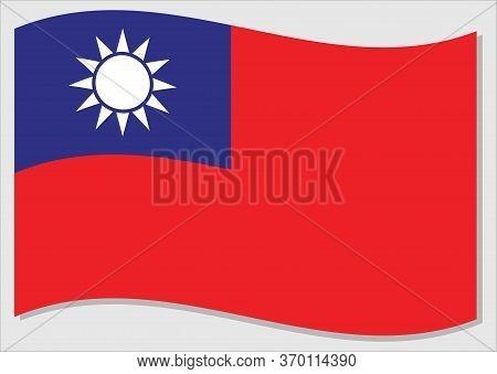 Waving Flag Of Taiwan Vector Graphic. Waving Taiwanese Flag Illustration. Taiwan Country Flag Wavin