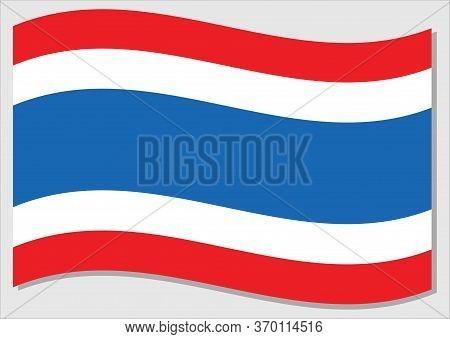 Waving Flag Of Thailand Vector Graphic. Waving Thai Flag Illustration. Thailand Country Flag Wavin I