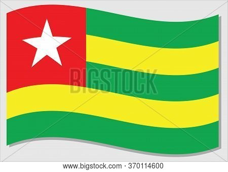 Waving Flag Of Togo Vector Graphic. Waving Togolese Flag Illustration. Togo Country Flag Wavin In Th