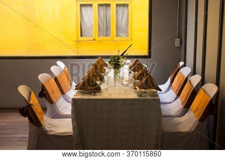 Table In The Banquet Room, Meeting, Seminar  In Hotel,banqueting And Socializing