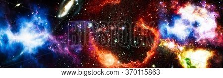 Star Particle Motion On Black Background, Starlight Nebula In Galaxy At Universe Space Background. T