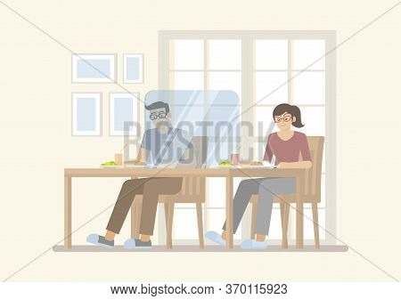 Man And Woman Having Meal On Table With Transparent Partition For Protecting Covid-19 Infection, In
