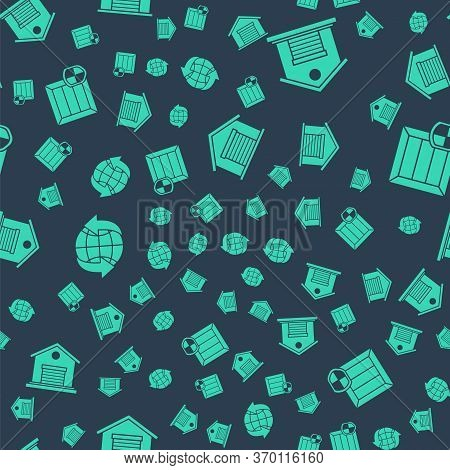 Set Warehouse, Warehouse, Worldwide And Delivery Pack Security With Shield On Seamless Pattern. Vect
