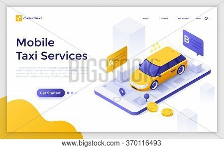 Landing Page With Car Or Cab On Giant Smartphone With City Map On Screen, Departure And Destination