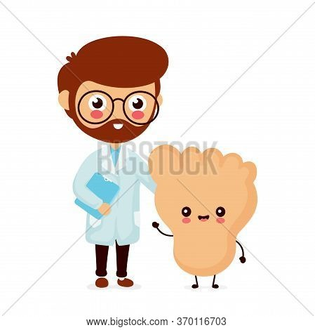 Cute Smiling Happy Human Leg Foot And Doctor. Vector Flat Cartoon Character Illustration.isolated On