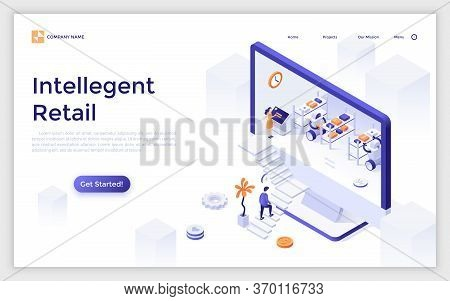 Landing Page With Giant Computer Display And Robots Working At Warehouse Inside, Customer Ascending