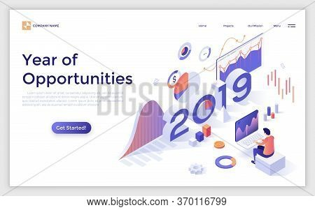 Landing Page With 2019 Number And Analyst Monitoring Statistical Or Financial Market Indicators, Dia