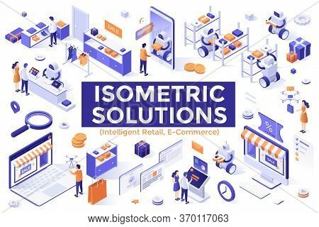 Collection Of Isometric Design Elements Isolated On White Background - Robotics And Intelligent Reta