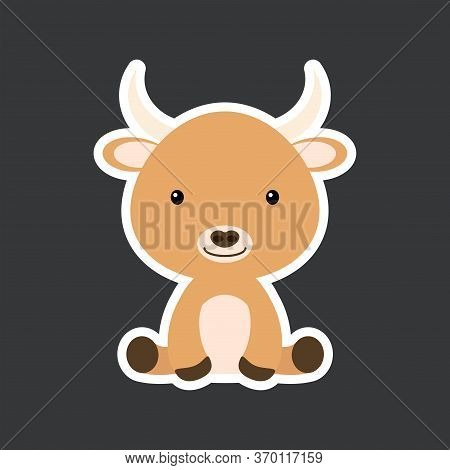 Sticker Of Cute Baby Yak Sitting. Adorable Domestic Animal Character For Design Of Album, Scrapbook,