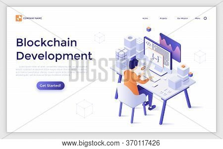 Landing Page Template With Programmer Or Coder Sitting At Desk And Working On Computer. Blockchain A