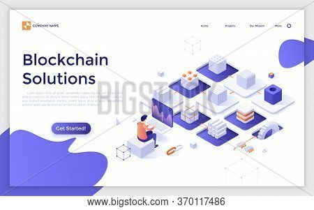 Landing Page Template With Cryptocurrency Miner Sitting At Computer And Chain Of Cubic Blocks. Softw
