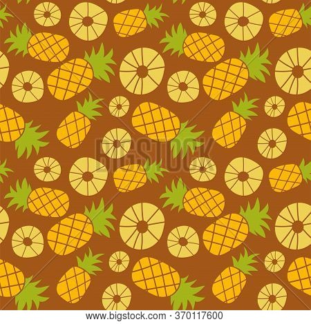 Pineapple Seamless Pattern. Hand Drawn Fresh Slice Of Ananas. Vector Sketch Background. Exotic Tropi