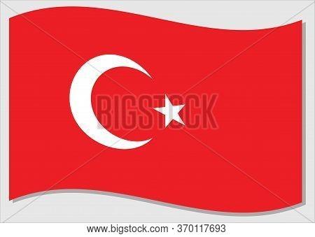 Waving Flag Of Turkey Vector Graphic. Waving Turkish Flag Illustration. Turkey Country Flag Wavin In