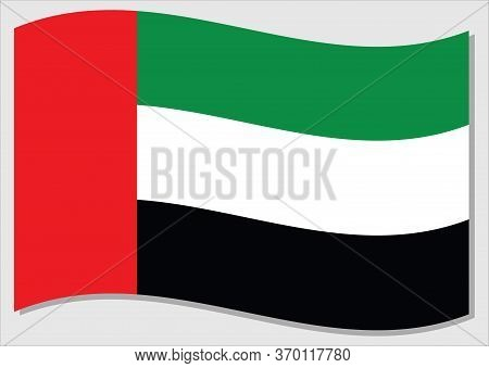 Waving Flag Of Uae Vector Graphic. Waving Emirati Flag Illustration. Uae Country Flag Wavin In The W