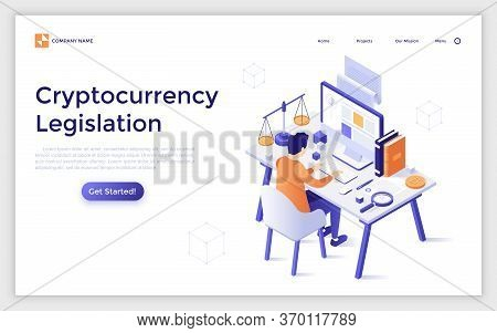 Landing Page Template With Man Sitting At Desk With Computer, Scales Of Justice And Books. Cryptocur