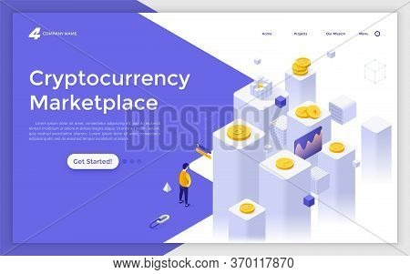 Landing Page Template With Man Standing In Front Of Cubic Columns And Crypto Coins. Internet Marketp