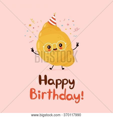 Cute Funny Croissant. Happy Birthday Hand Drawn Style Card.vector Flat Cartoon Character Illustratio