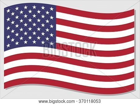 Waving Flag Of Usa Vector Graphic. Waving American Flag Illustration. Usa Country Flag Wavin In The