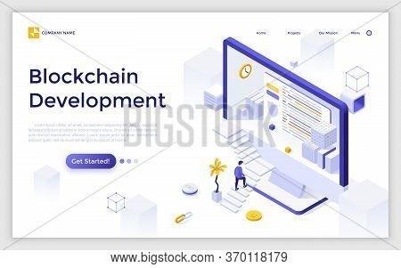 Landing Page With Giant Computer Display, Man Ascending Stairs And Bitcoin. Blockchain Or Cryptocurr