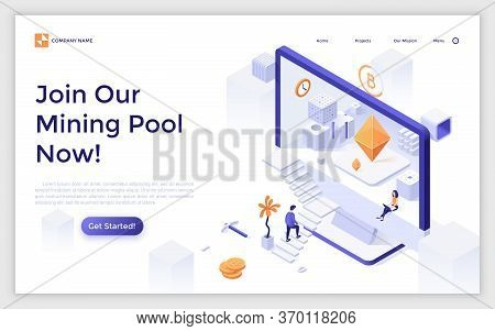 Landing Page With Man Ascending Stairs And Entering Screen Of Giant Computer. Cryptocurrency Mining