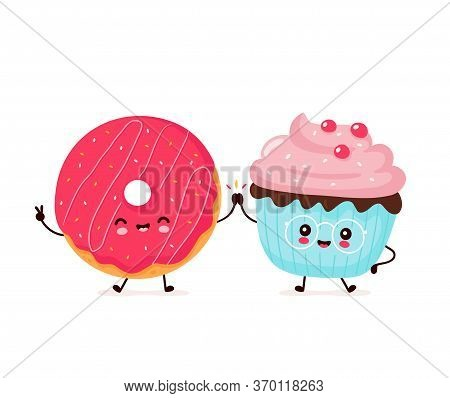 Cute Happy Smiling Donut And Cupcake. Vector Flat Cartoon Character Illustration Icon Design.isolate