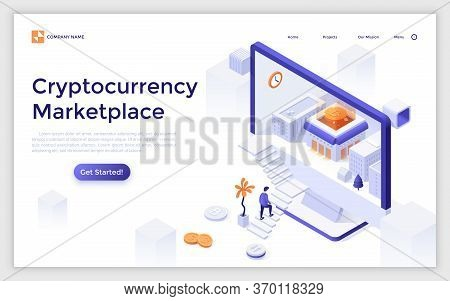 Landing Page Template With Man Ascending Stairs To Enter Computer Display With Buildings And Bitcoin