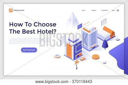 Landing Page Template With Hotel Buildings, Customers Reviews And Five Star Ratings. Internet Bookin