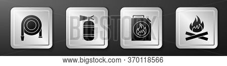 Set Fire Hose Reel, Fire Extinguisher, Canister For Flammable Liquids And Campfire Icon. Silver Squa