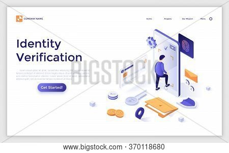 Landing Page Template With Man Entering Giant Smartphone. Secure Access To Personal Information, Ide