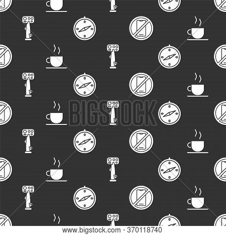 Set No Cell Phone, Coffee Cup, Aircraft Steering Helm And Compass On Seamless Pattern. Vector