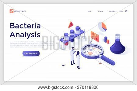 Landing Page With Scientists And Lab Equipment. Microbiology Service For Bacteria Analysis, Bacterio