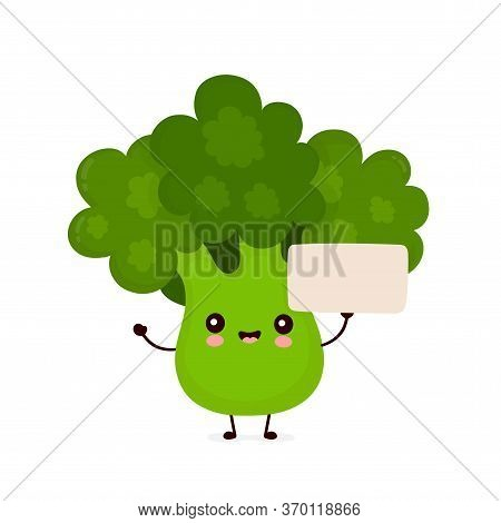 Cute Happy Smiling Broccoli Vegetable With Empty Sign. Vector Flat Cartoon Character Illustration Ic