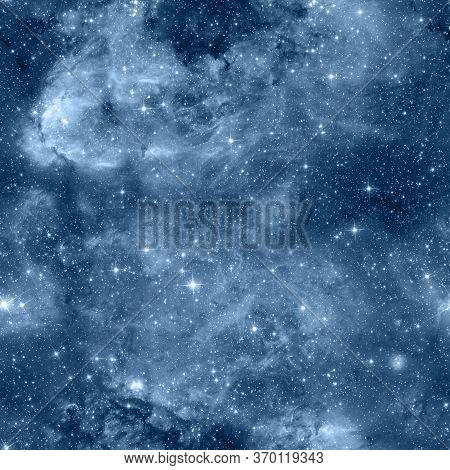 Starry Sky Seamless Pattern.  Blue Abstract Background. Design For Wrapping Paper, Yoga Mat Or Fabri
