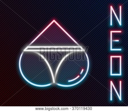 Glowing Neon Line Womens Booty In A Heart Shape With Panties On It Icon Isolated On Black Background