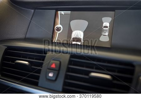 Grodno, Belarus - June 2020: Bmw X3 Ii F25 2.0i Xdrive Interior Of Premium Car Backup Parking Assist