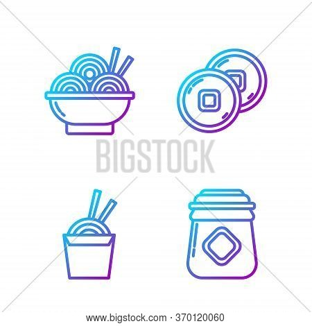 Set Line Jar Of Honey, Asian Noodles In Paper Box And Chopsticks, Asian Noodles In Bowl And Chinese