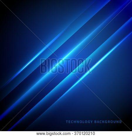 Abstract Technology Digital Diagonal Laser Line On Dark Blue Background. Vector Illustration