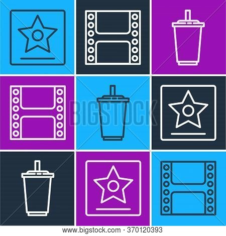 Set Line Hollywood Walk Of Fame Star, Paper Glass With Water And Play Video Icon. Vector