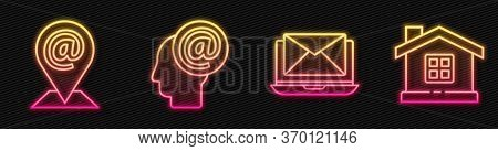 Set Line Laptop With Envelope, Location And Mail And E-mail, Mail And E-mail And House. Glowing Neon