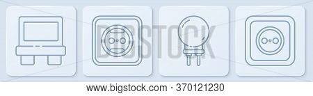 Set Line Fuse, Light Emitting Diode, Electrical Outlet And Electrical Outlet. White Square Button. V